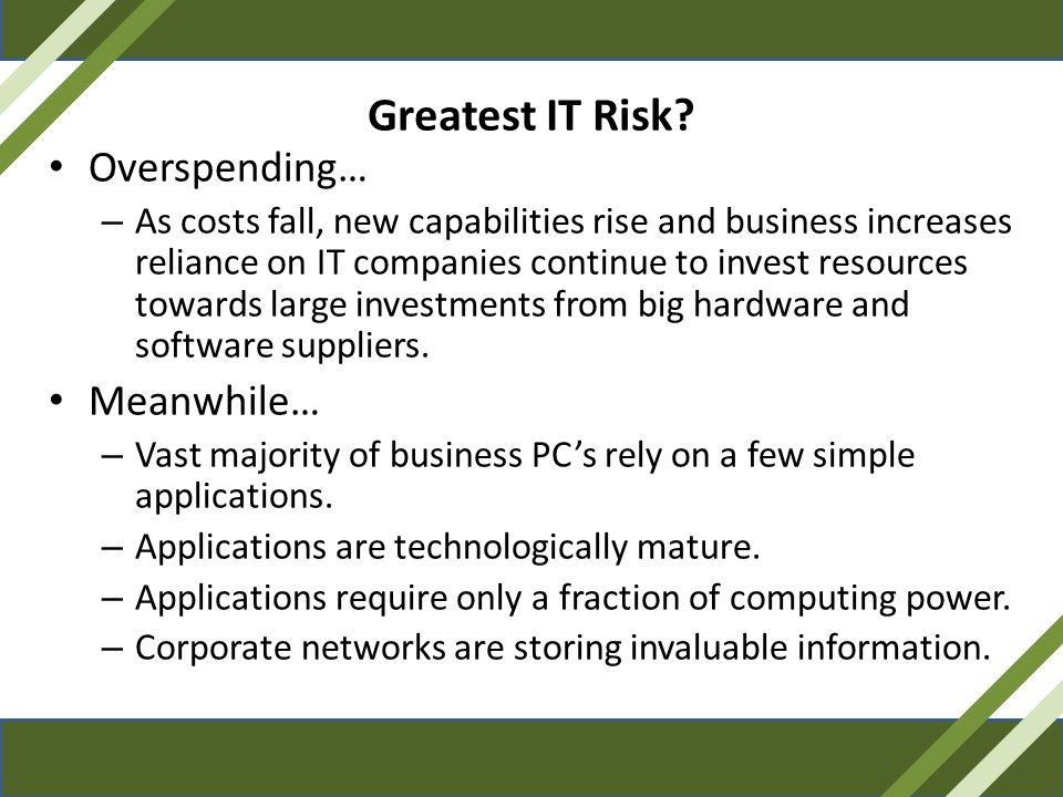 Greatest IT Risk Overspending… Meanwhile…