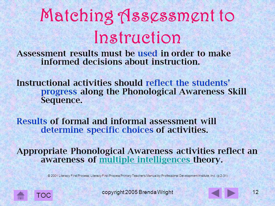 Matching Assessment to Instruction