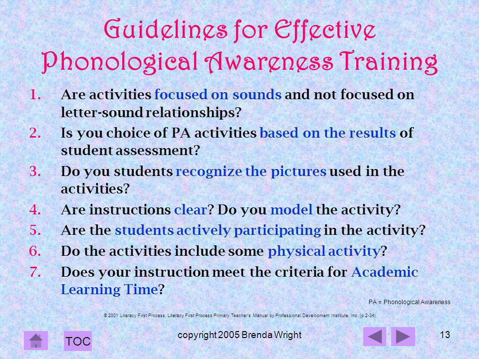 Guidelines for Effective Phonological Awareness Training