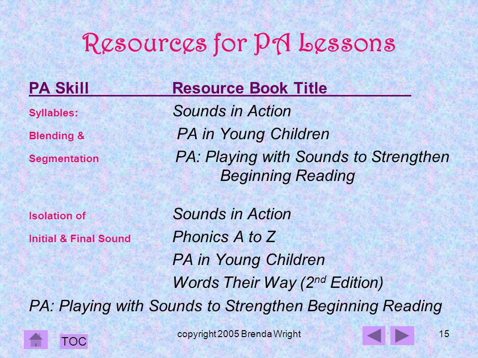 Resources for PA Lessons