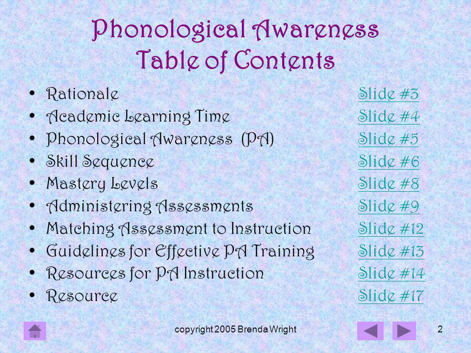 Phonological Awareness Table of Contents