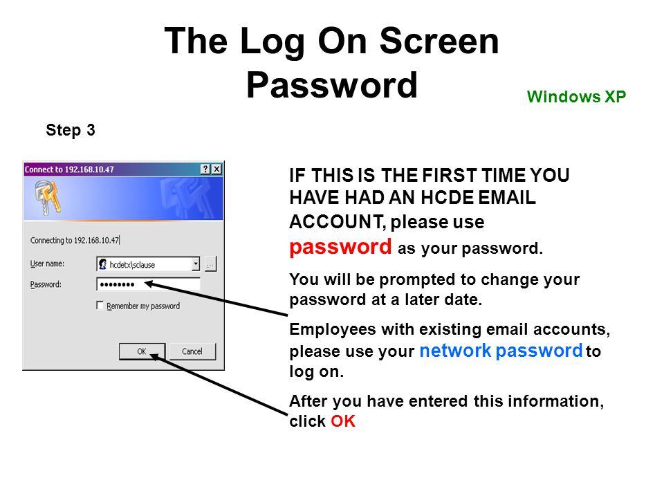 The Log On Screen Password
