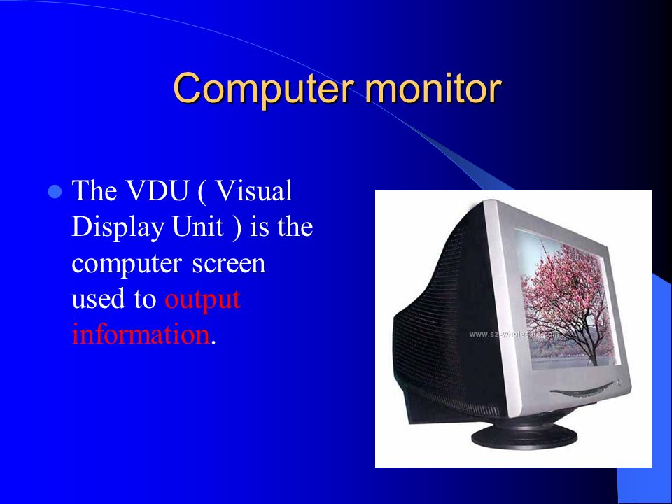 Computer monitor The VDU ( Visual Display Unit ) is the computer screen used to output information.