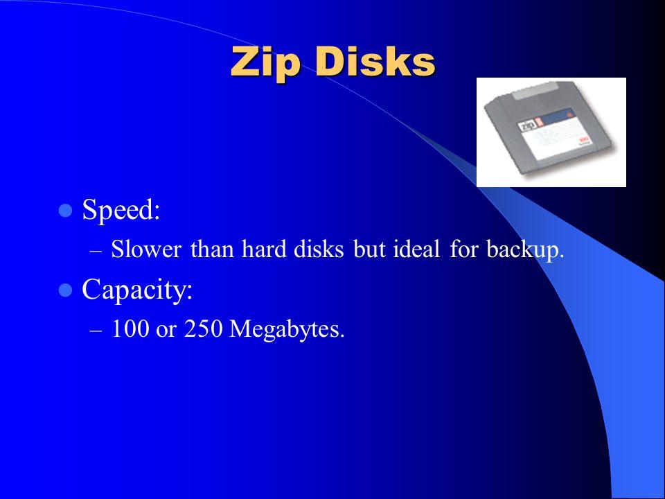 Zip Disks Speed: Capacity: