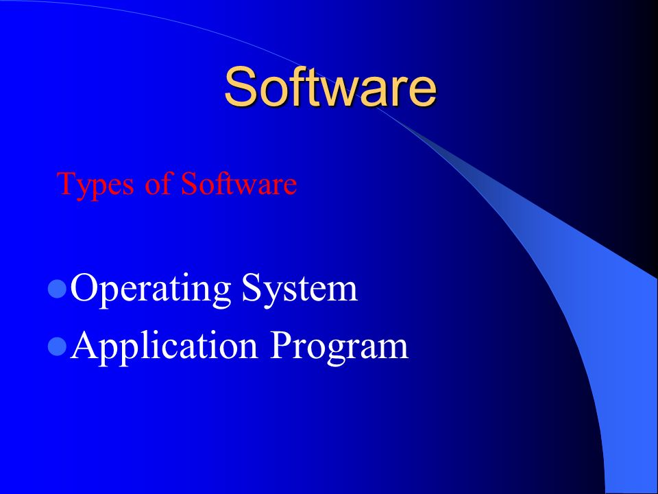 Software Types of Software Operating System Application Program