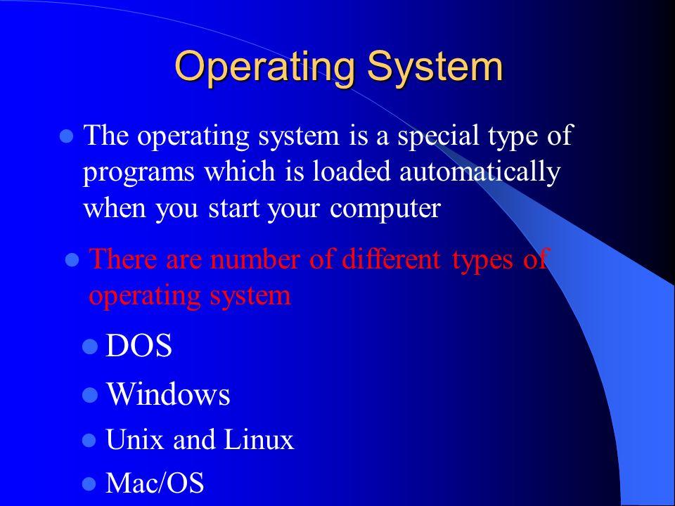 Operating System DOS Windows