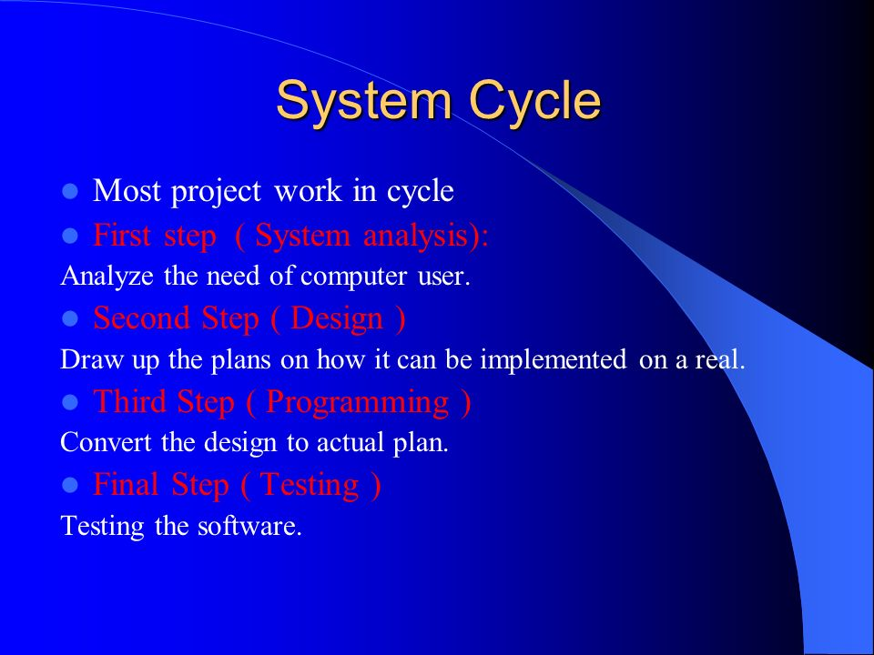 System Cycle Most project work in cycle First step ( System analysis):