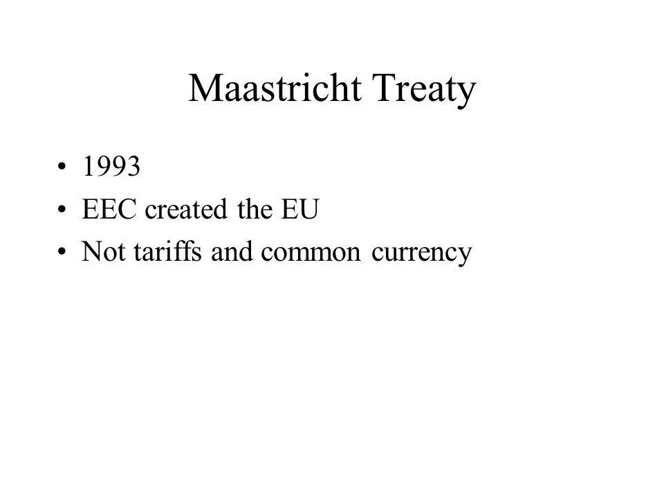 Maastricht Treaty 1993 EEC created the EU