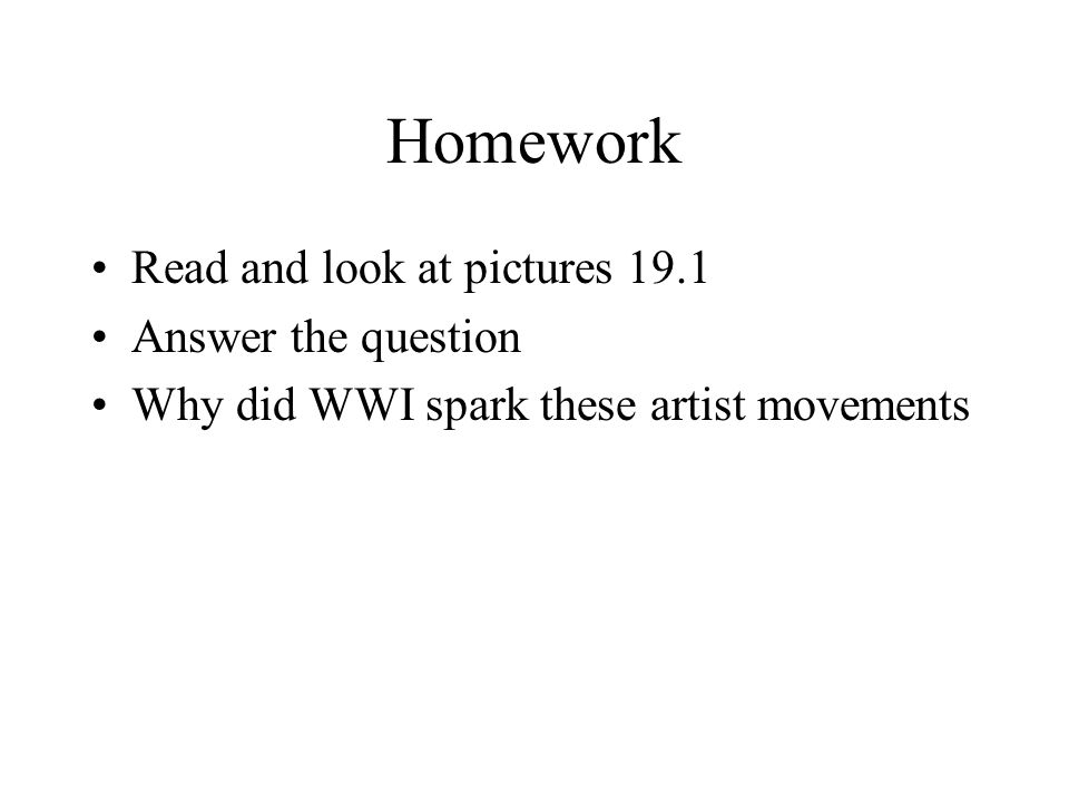 Homework Read and look at pictures 19.1 Answer the question