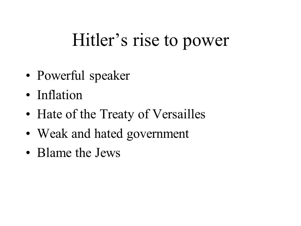 Hitler's rise to power Powerful speaker Inflation