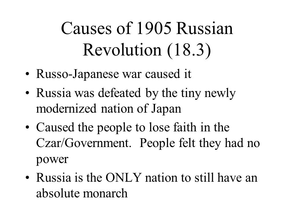 Causes of 1905 Russian Revolution (18.3)