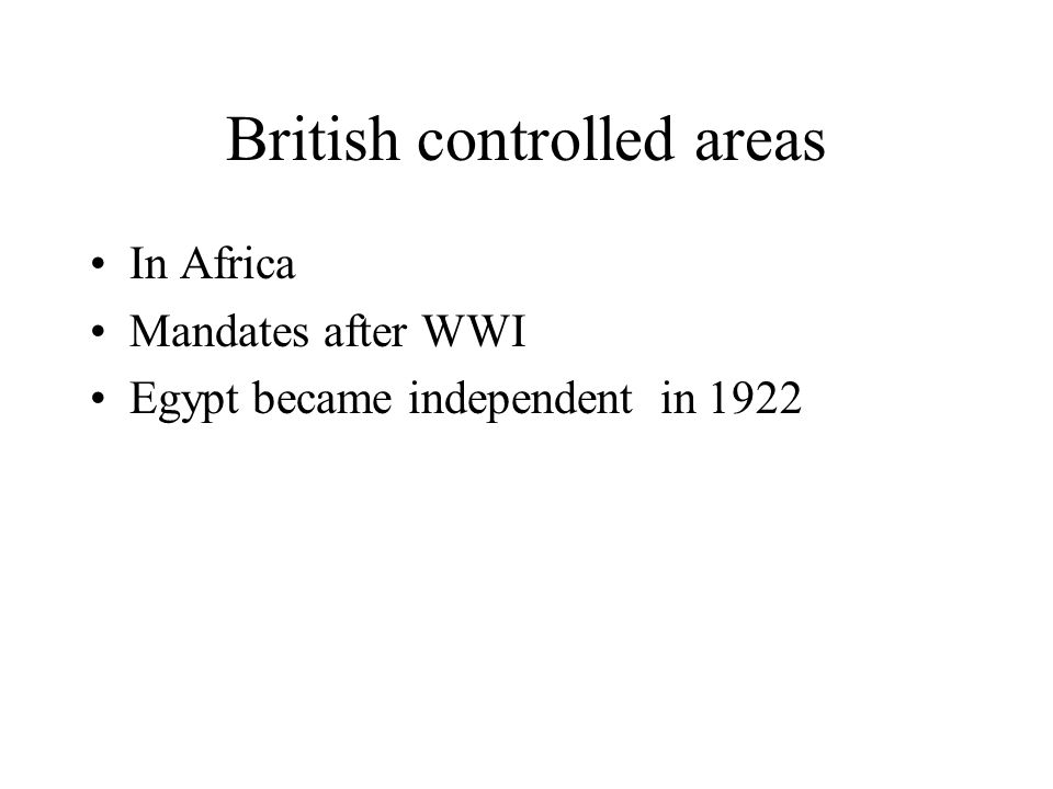 British controlled areas