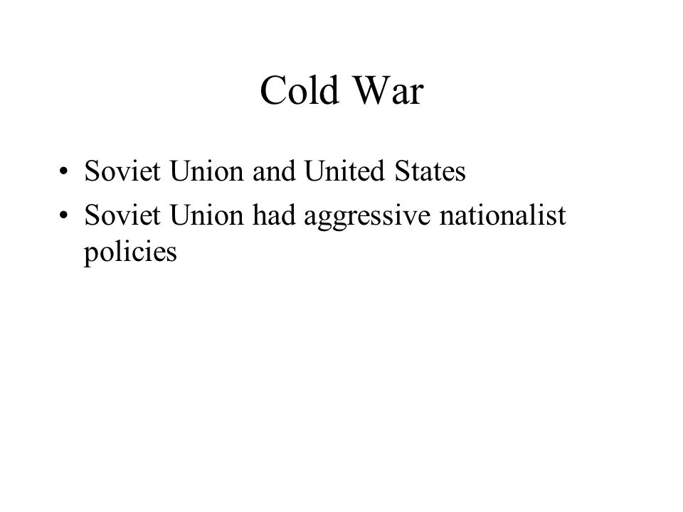 Cold War Soviet Union and United States