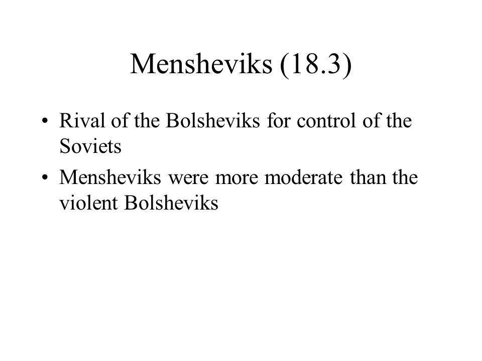 Mensheviks (18.3) Rival of the Bolsheviks for control of the Soviets