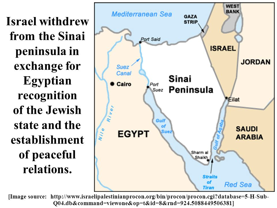 Israel withdrew from the Sinai peninsula in exchange for Egyptian recognition of the Jewish state and the establishment of peaceful relations.