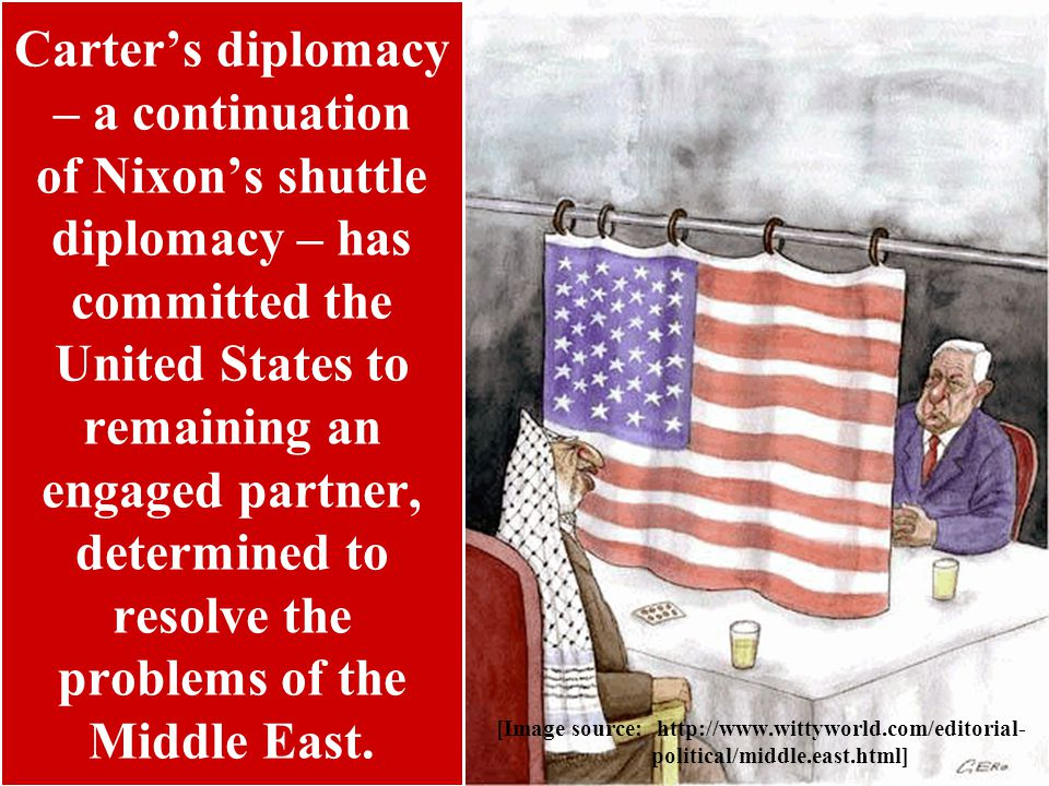 Carter's diplomacy – a continuation of Nixon's shuttle diplomacy – has committed the United States to remaining an engaged partner, determined to resolve the problems of the Middle East.