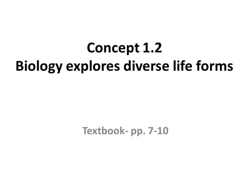Concept 1.2 Biology explores diverse life forms