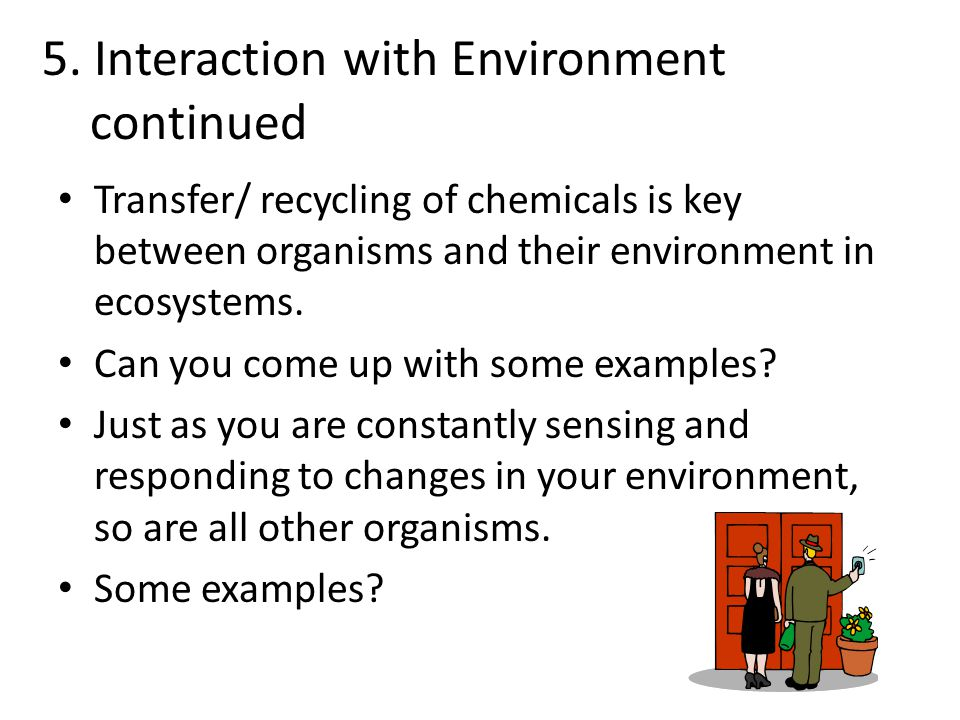 5. Interaction with Environment continued