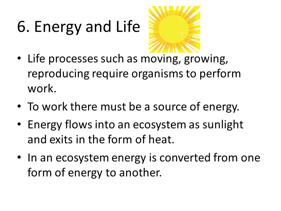 6. Energy and Life Life processes such as moving, growing, reproducing require organisms to perform work.