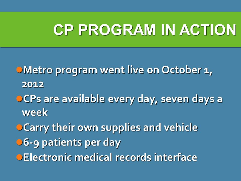 CP PROGRAM IN ACTION Metro program went live on October 1, 2012