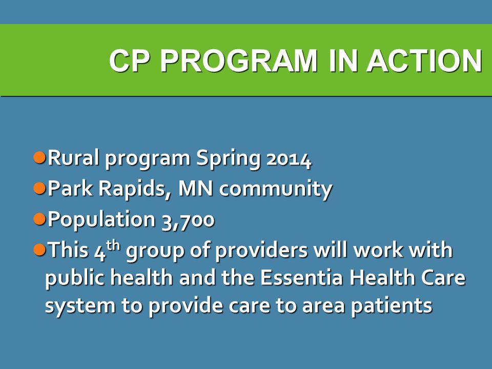 CP PROGRAM IN ACTION Rural program Spring 2014