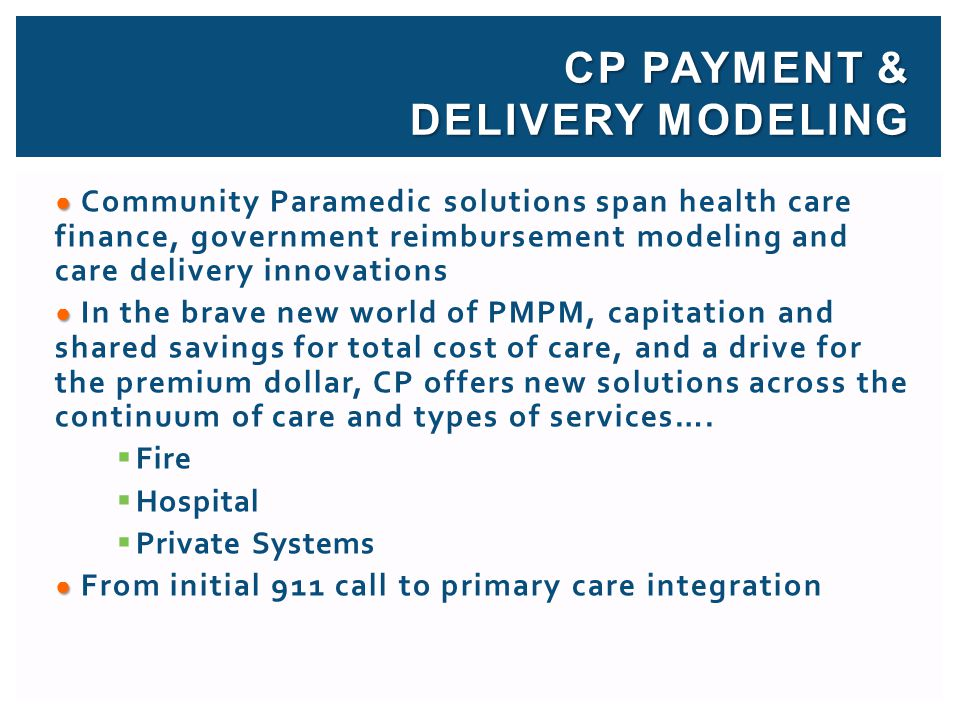 CP Payment & Delivery modeling