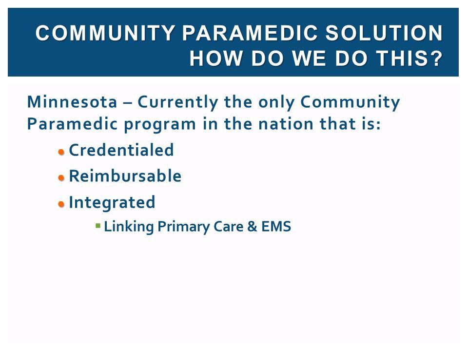 COMMUNITY PARAMEDIC Solution How DO WE DO THIS