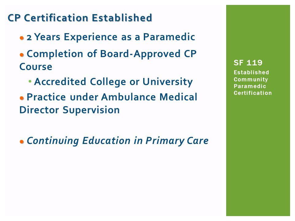 CP Certification Established