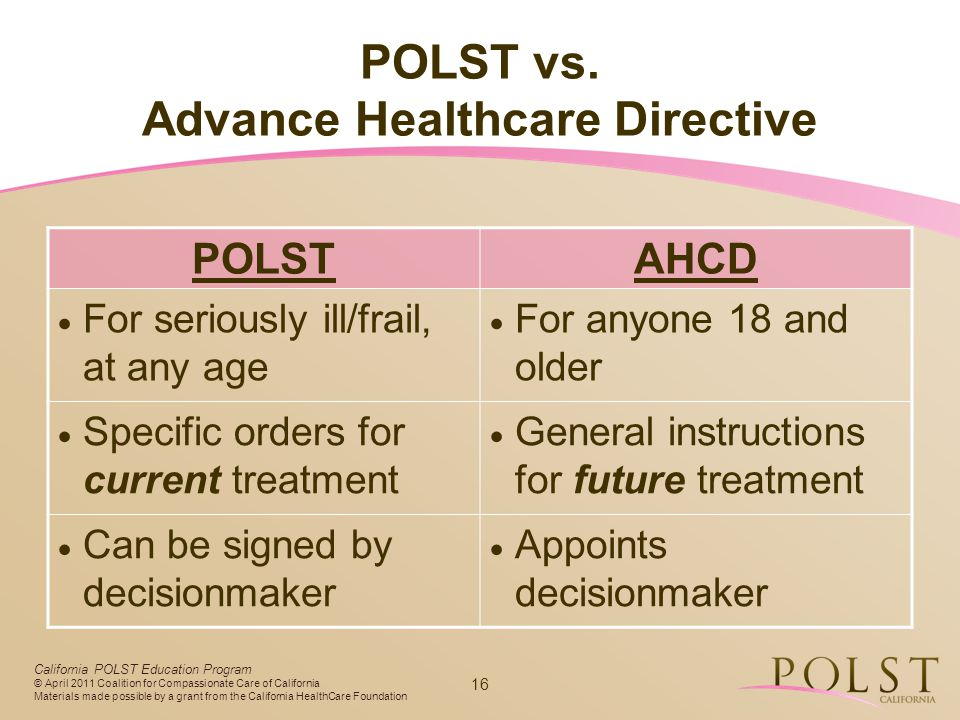 POLST vs. Advance Healthcare Directive