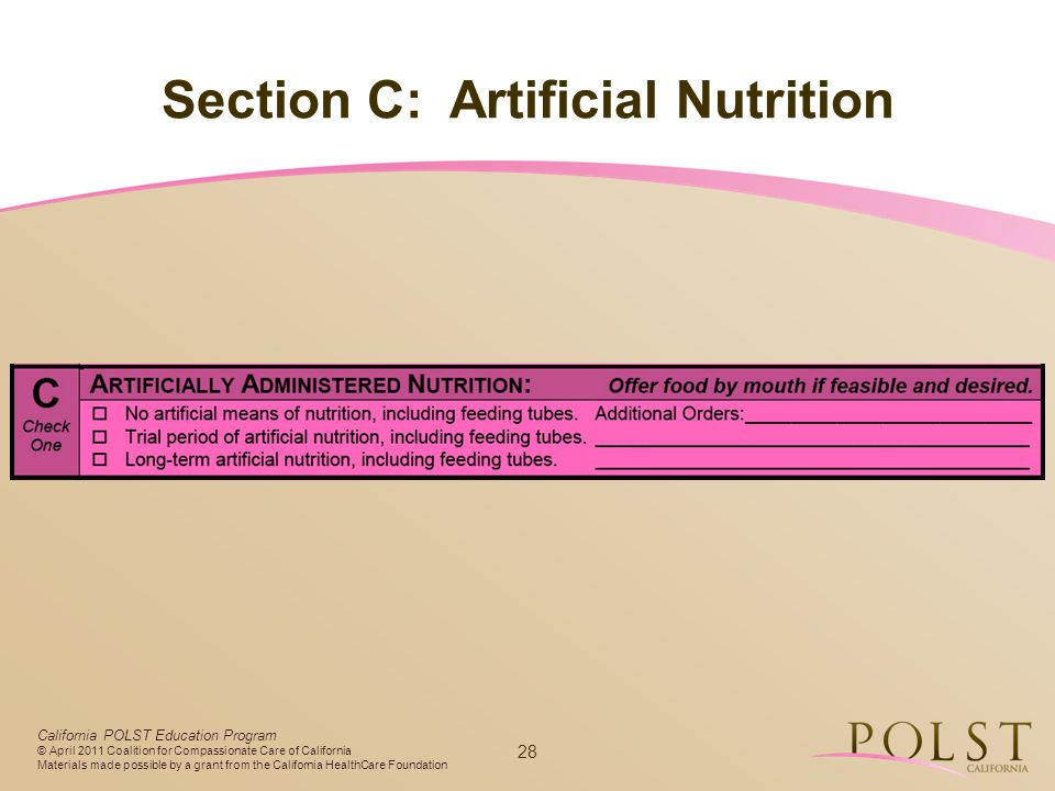 Section C: Artificial Nutrition