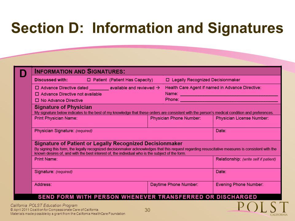 Section D: Information and Signatures