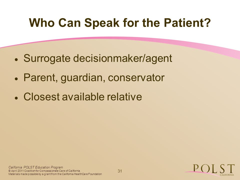 Who Can Speak for the Patient