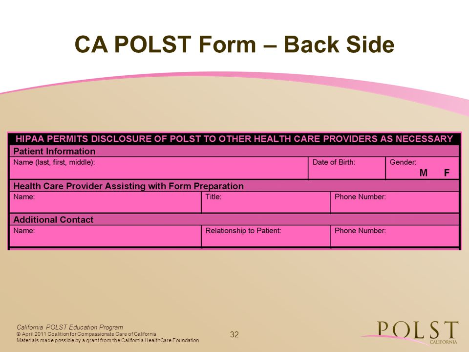 CA POLST Form – Back Side