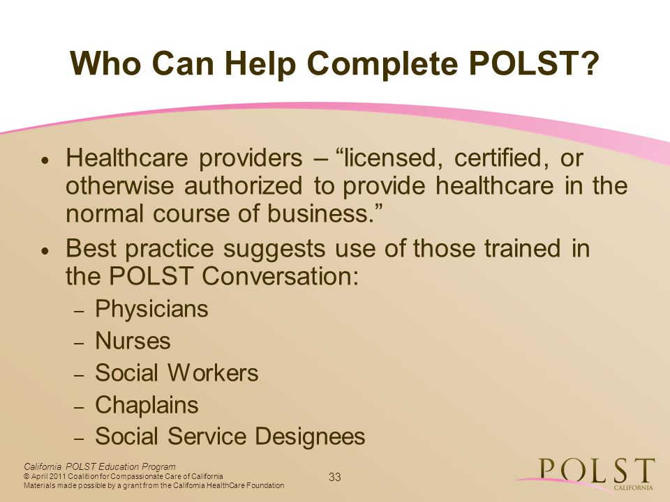 Who Can Help Complete POLST