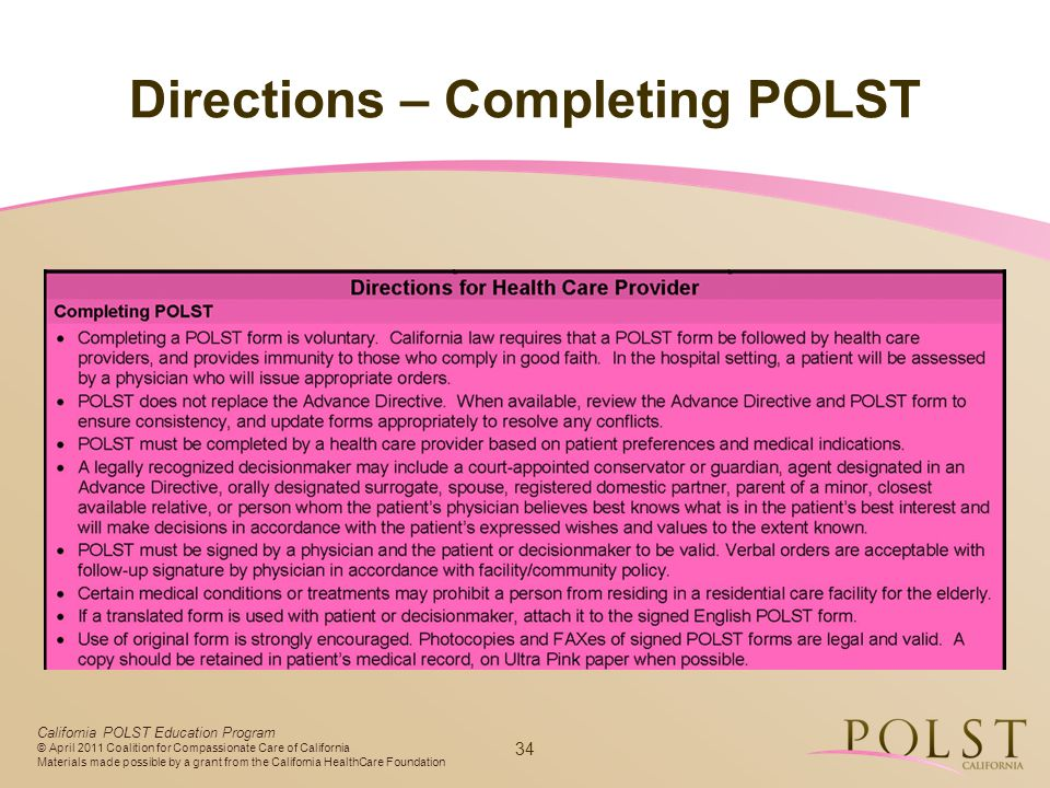 Directions – Completing POLST