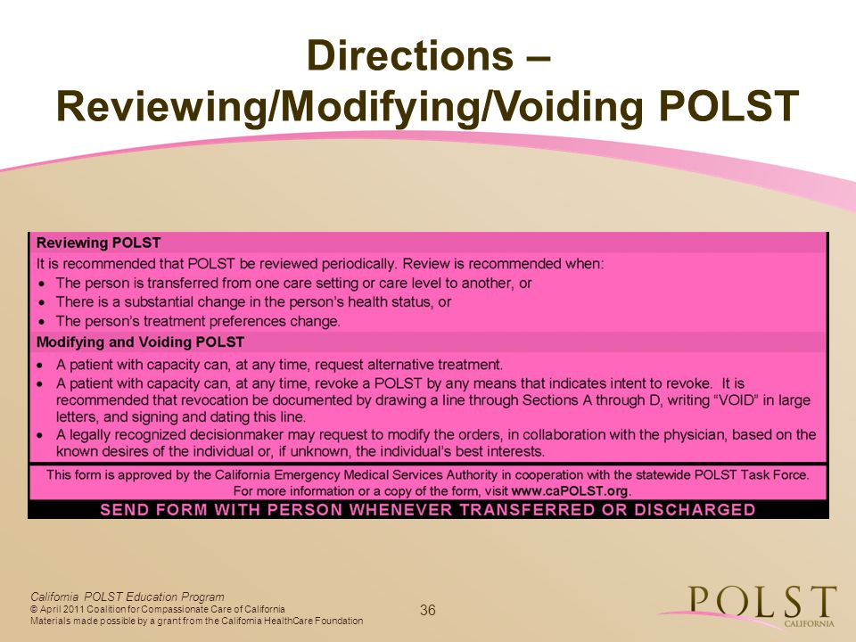 Reviewing/Modifying/Voiding POLST