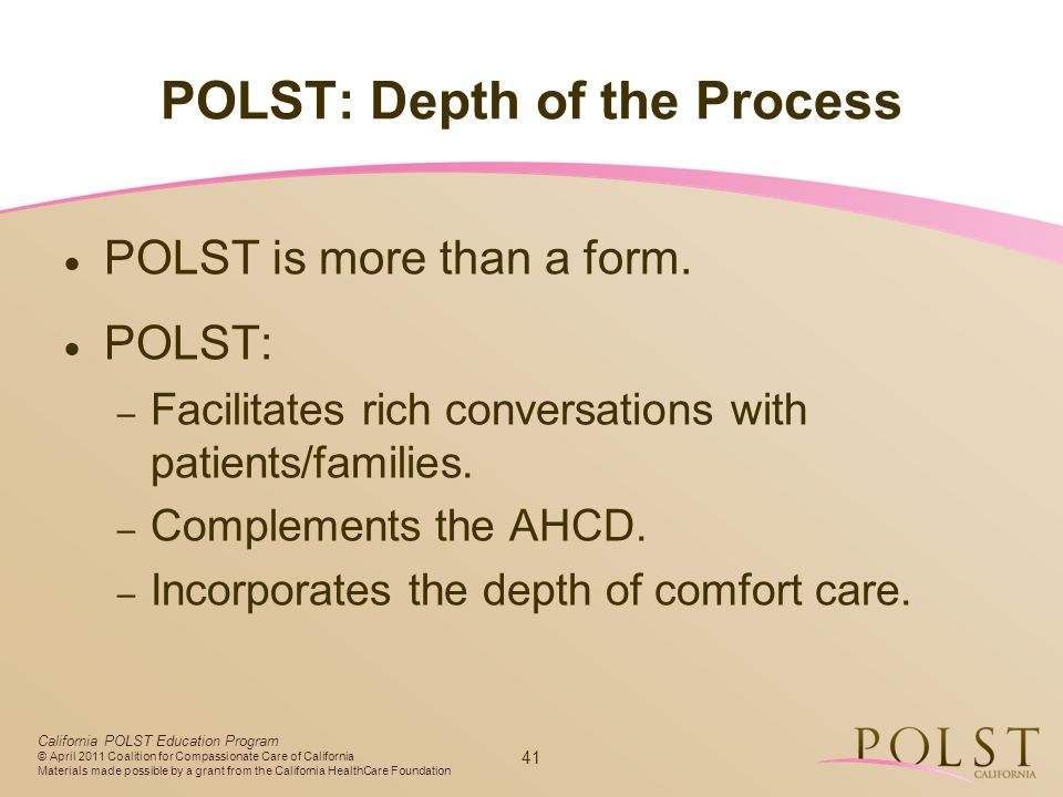 POLST: Depth of the Process