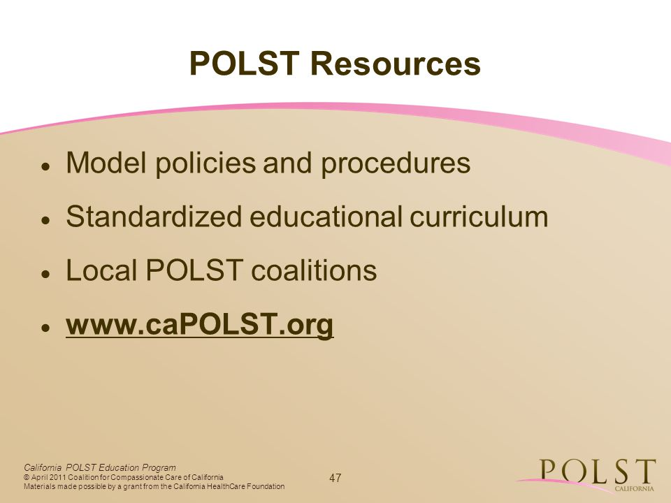 POLST Resources Model policies and procedures
