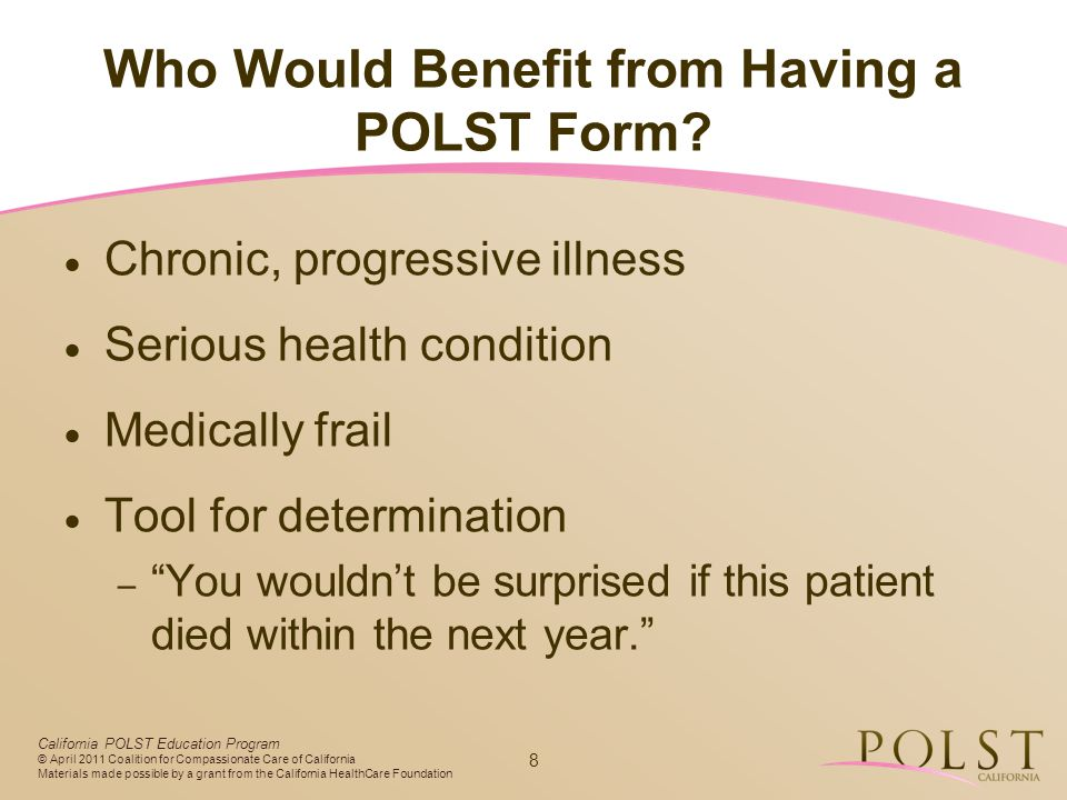 Who Would Benefit from Having a POLST Form