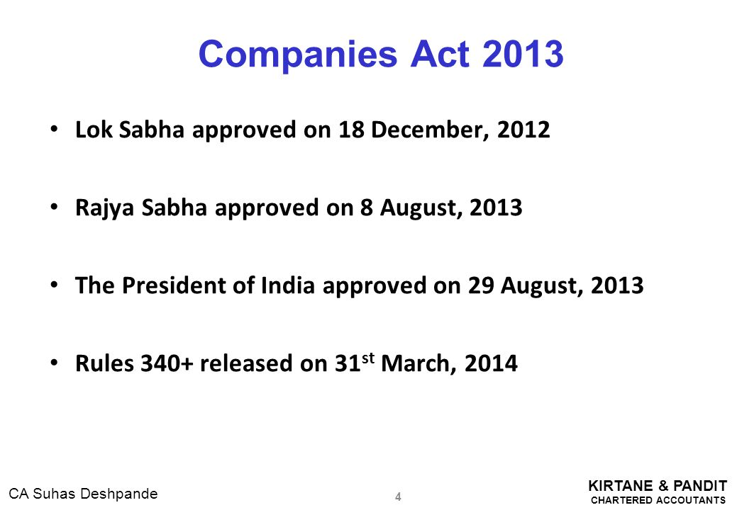 Companies Act 2013 Lok Sabha approved on 18 December, 2012