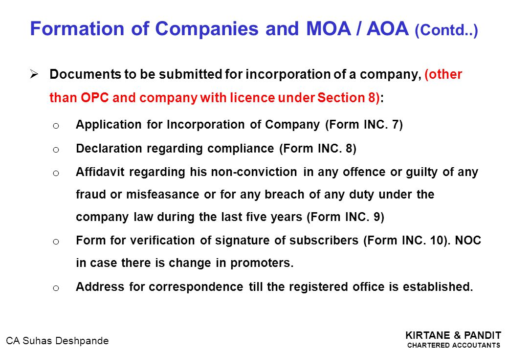 Formation of Companies and MOA / AOA (Contd..)