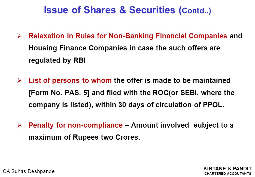 Issue of Shares & Securities (Contd..)