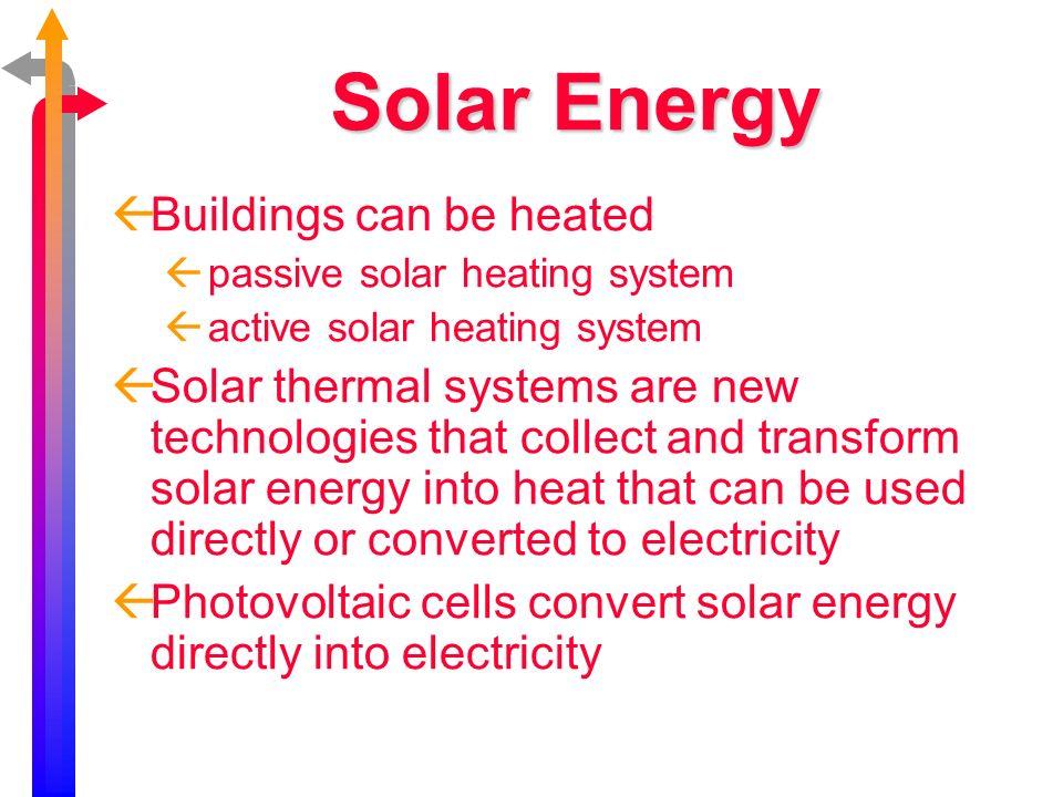 Solar Energy Buildings can be heated