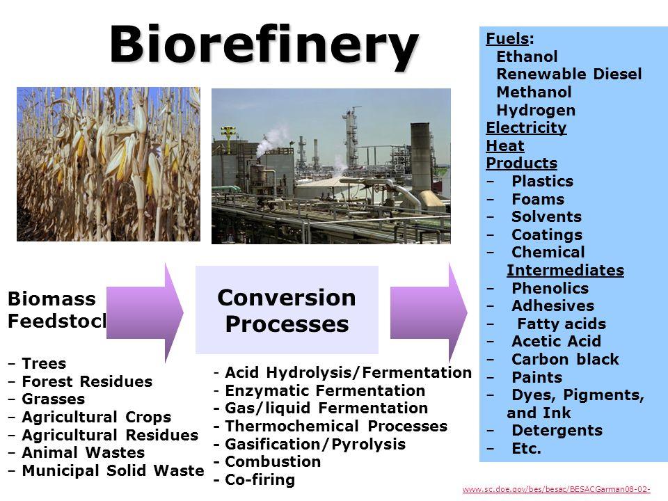 Biorefinery Conversion Processes Biomass Feedstock Fuels: Ethanol