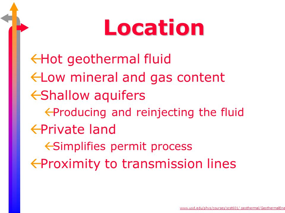 Location Hot geothermal fluid Low mineral and gas content