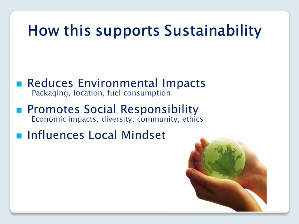 How this supports Sustainability