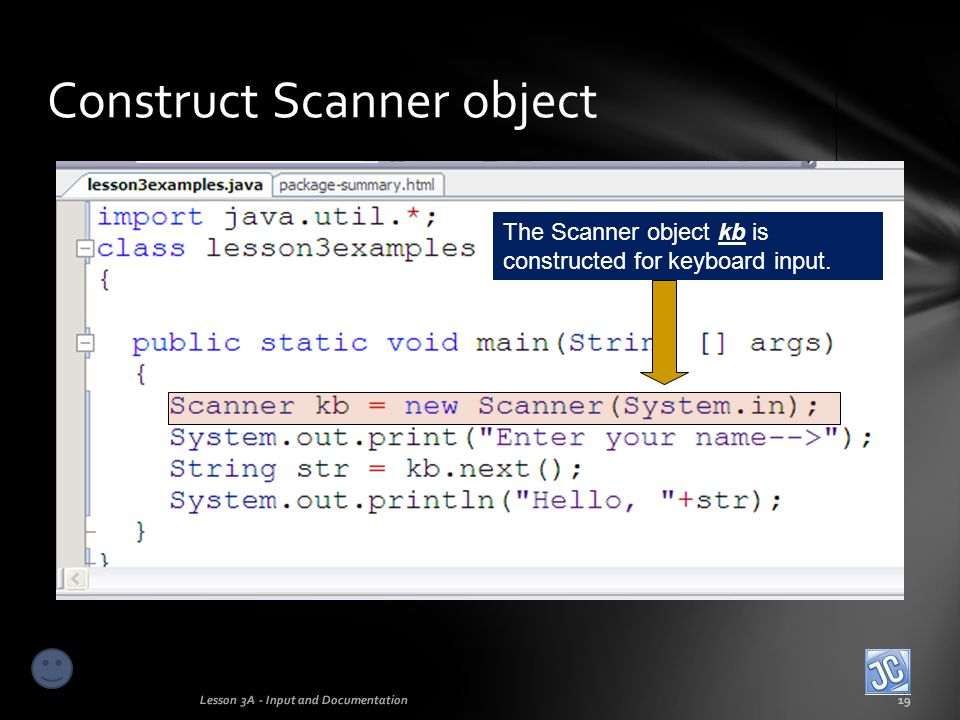 Construct Scanner object