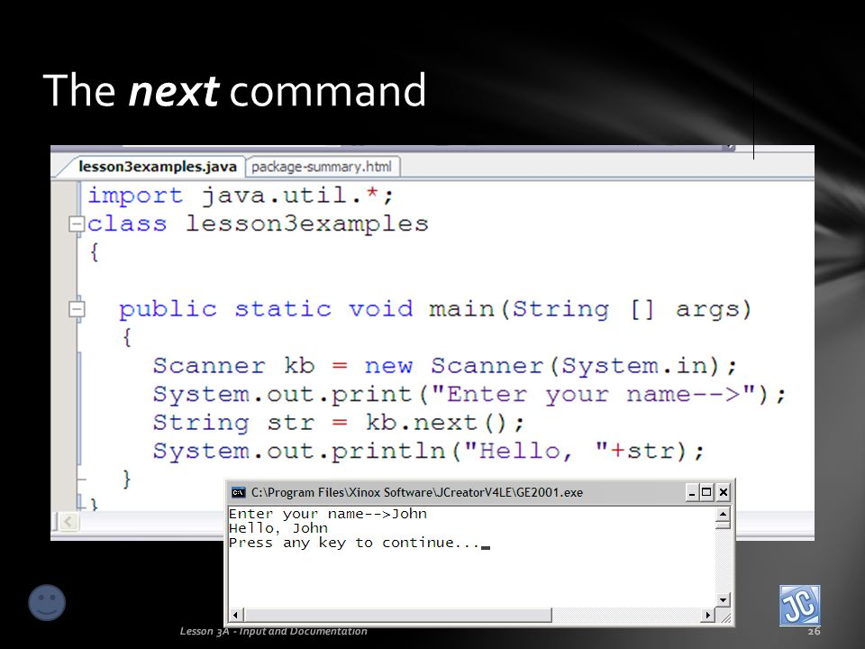 The next command Lesson 3A - Input and Documentation