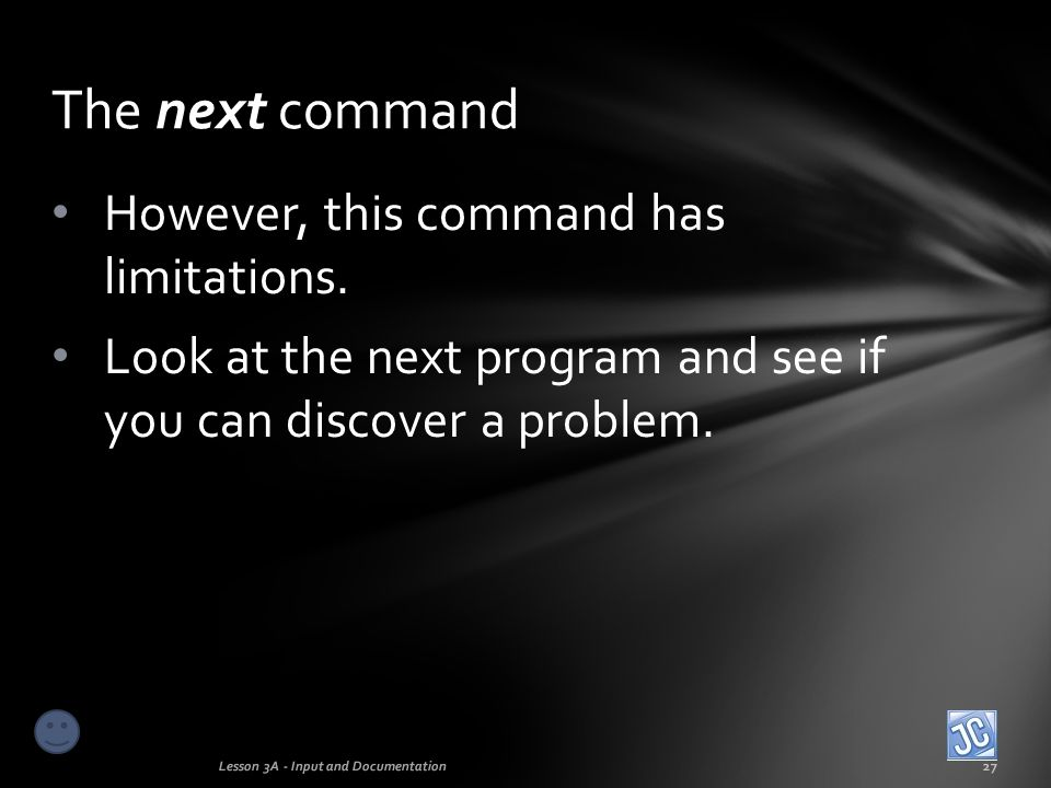 The next command However, this command has limitations.