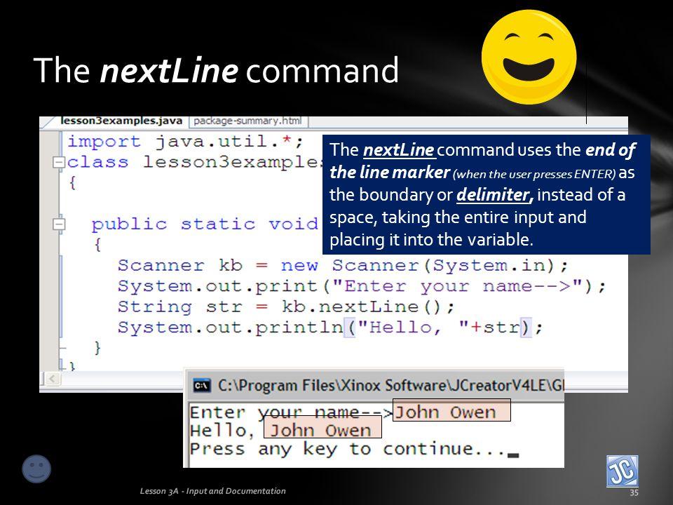 The nextLine command
